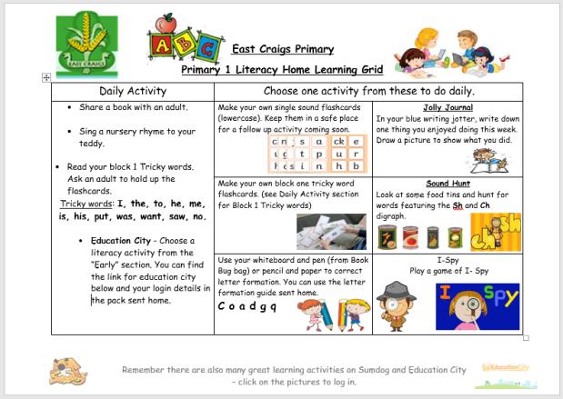 literacy grid march 23rd