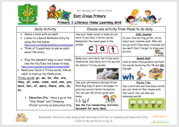 Literacy Home Learning Grid 30th march