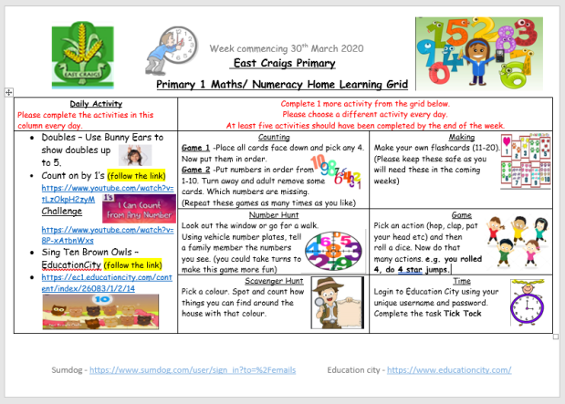 maths and numeracy home learning grid 2 March 30th