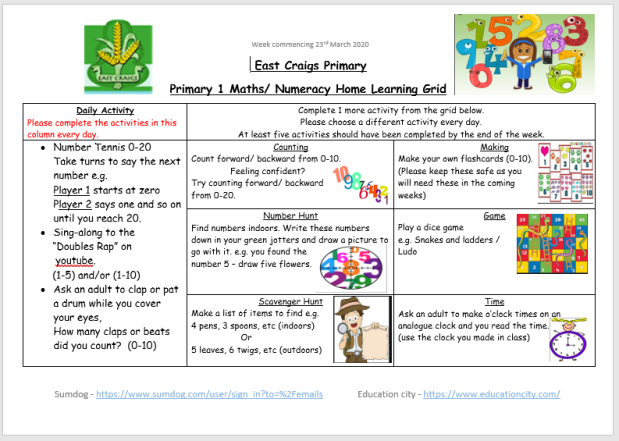 numeracy and maths grid march 23rd
