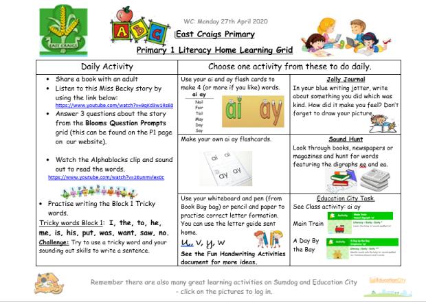 literacy grid image 27th april
