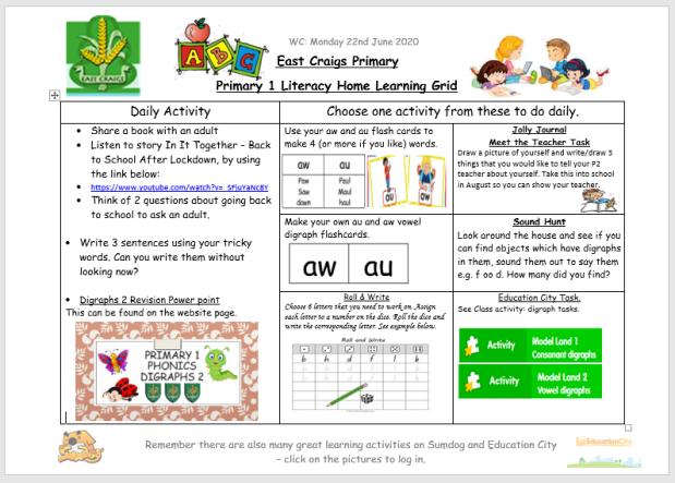 literacy grid june 22nd image