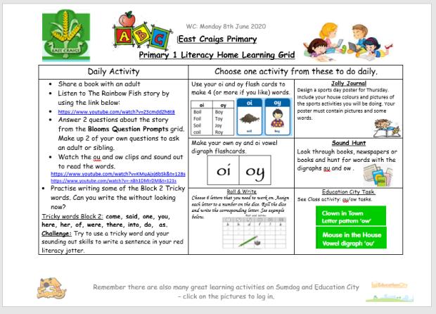 literacy grid june 8th image