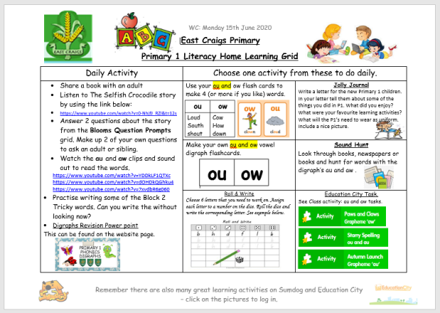 Literacy Home Learning Grid 15th June image