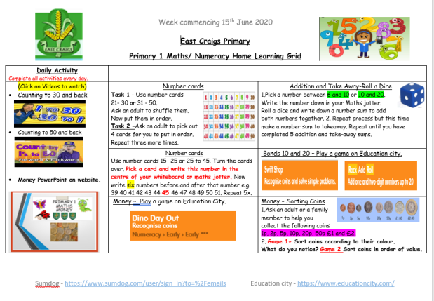 maths and numeracy grid 15th June Image