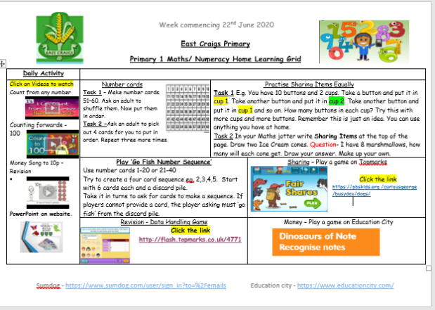 numeracy Grid 22nd June Image