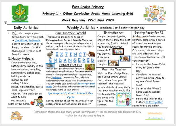 Other Curricular areas Home Learning Grid June 22nd image